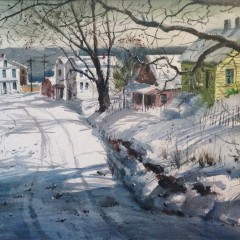 "Herbert Vincent Olsen ""Winter Street Scene"""