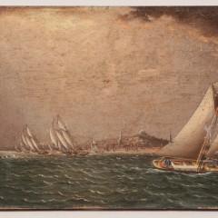 "James E. Buttersworth Fine Art Oil on Wood Panel ""Yacht Race Boston Harbor, 1865-1880"""