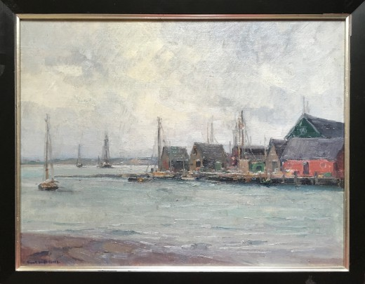 "Frank Swift Chase ""Nantucket Service Wharf"" Oil on Canvas Board"