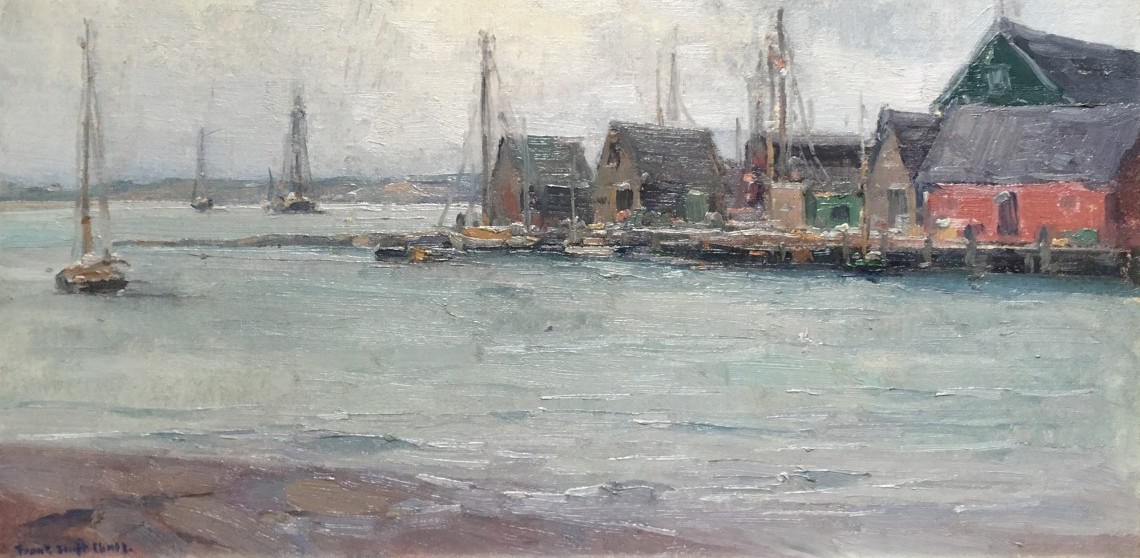 Frank Swift Chase Oil on Artist Board - Nantucket Service Wharf