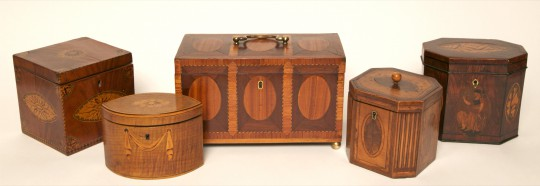 Five Various George III Tea Caddies