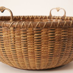 Scarce Nantucket Baleen and Hickory Round Sewing Basket