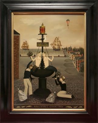 "Ralph Eugene Cahoon Jr. ""Nantucket Courtship"" Oil on Masonite"