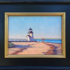 "Dianne Panarelli Miller Oil on Board ""Fishing at Brant Point"""