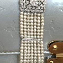 Delicate 3mm 7-Strand Seed Pearl and Diamond Bracelet, set with 85 small diamonds, 18k white gold clasp.