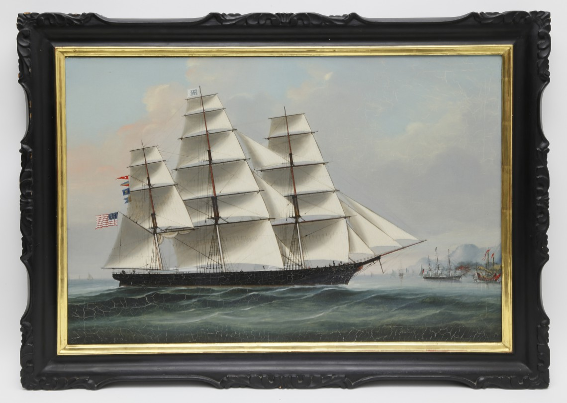 Nantucket Ship Midnight Chinese Export Oil On Canvas