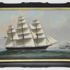 "Chinese Export Oil on Canvas ""Starboard Portrait of the American Ship Midnight"""