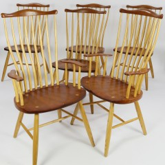 Set of 6 Stephen Swift Pomfret Cherry and Oak Dining Chairs, dated 2006