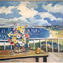 "Sybil Goldsmith Oil on Canvas ""Harborside Floral Still Life,"" signed lower right Sybil Goldsmith."
