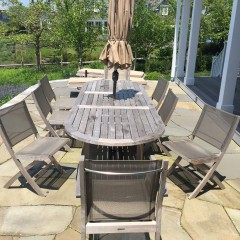 Pair of Teak Wood Chaise Lounges & Barlow Tyrie Oval Teak Wood Dining Table and Chairs