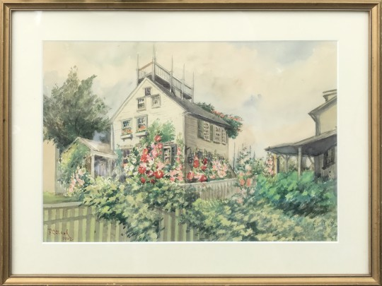 "F. C. Clark Watercolor on Paper ""Nantucket Garden Home"""