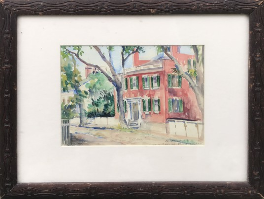 "Anna G. O'Neill Watercolor on Paper ""Nantucket, Coffin Mansion – Main Street"""