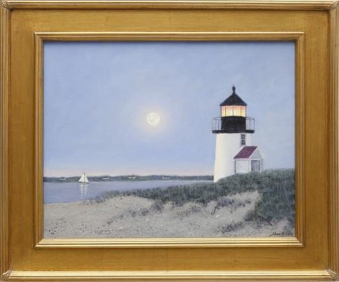 "Alan J. Eddy Oil on Canvas ""Brant Point Under a Full Moon"""