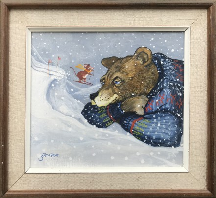 """George Davis Oil on Board """"Bear and Mouse Go Skiing"""""""