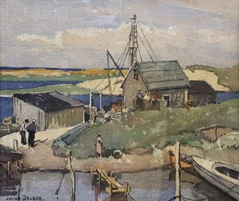 "Julius Delbos Watercolor on Paper ""Lobster Shack"""
