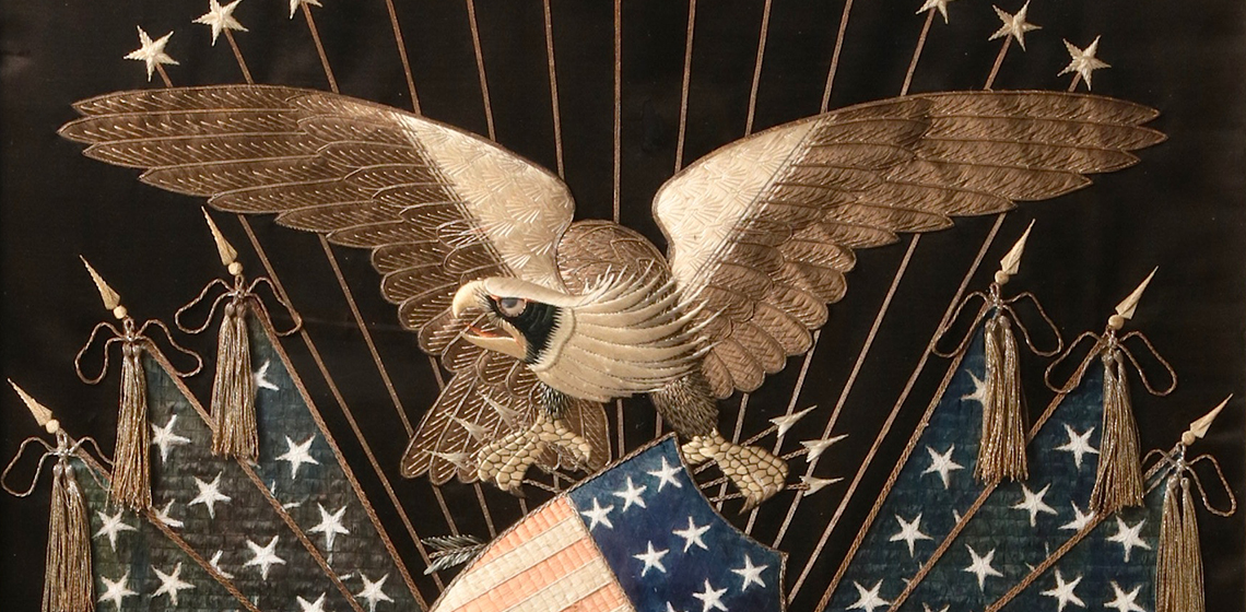 SLIDE Patriotic Eagle Embroidery with Civil War Battle Watercolor- 38573 edit
