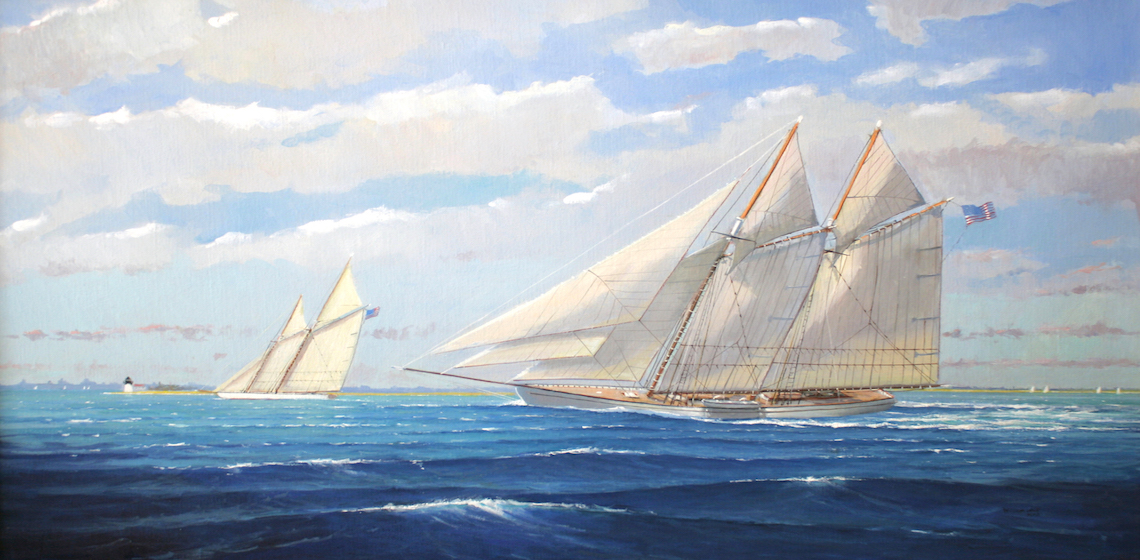 William Lowe Oil on Canvas Sailing off Brant Point Lighthouse Nantucket