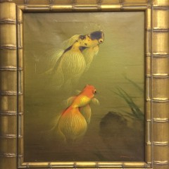 "Contemporary Oil on Canvas ""Two Koi"""