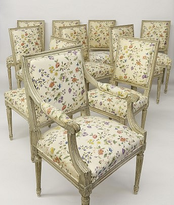 Set of Ten Louis XVI Style Pale Gray Painted Beechwood Dining Chairs