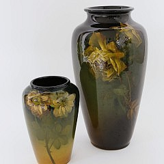 Louwelsa Weller & Rookwood Floral Decorated Vases