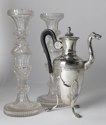 Pair of Anglo Irish Clear Colorless Cut-Glass Candlesticks & Charles X Silver Coffee Pot