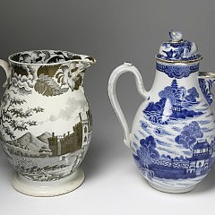 Staffordshire Sepia Transfer Decorated Earthenware Jug & Chinese Export Porcelain Chocolate Pot