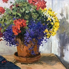 "Bob Barlow ""Floral Still Life in a Clay Pot"""