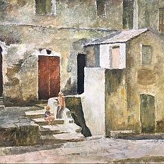 """Jose Fabri-Canti (1916-1995) Oil on Canvas """"Rive Gauche"""""""
