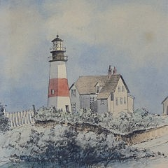 "William Cotton Schöntzeler Watercolor on Paper ""Sankaty Light 'Sconset"""