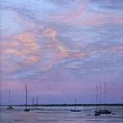 "Lenka Rubenstein Oil on Linen ""Sunset in the Harbor"""