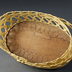 Nantucket Whaler Made Pierced Panbone Oval Swing Handle Basket