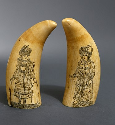Pair of Whaleman Scrimshawed Sperm Whale Teeth