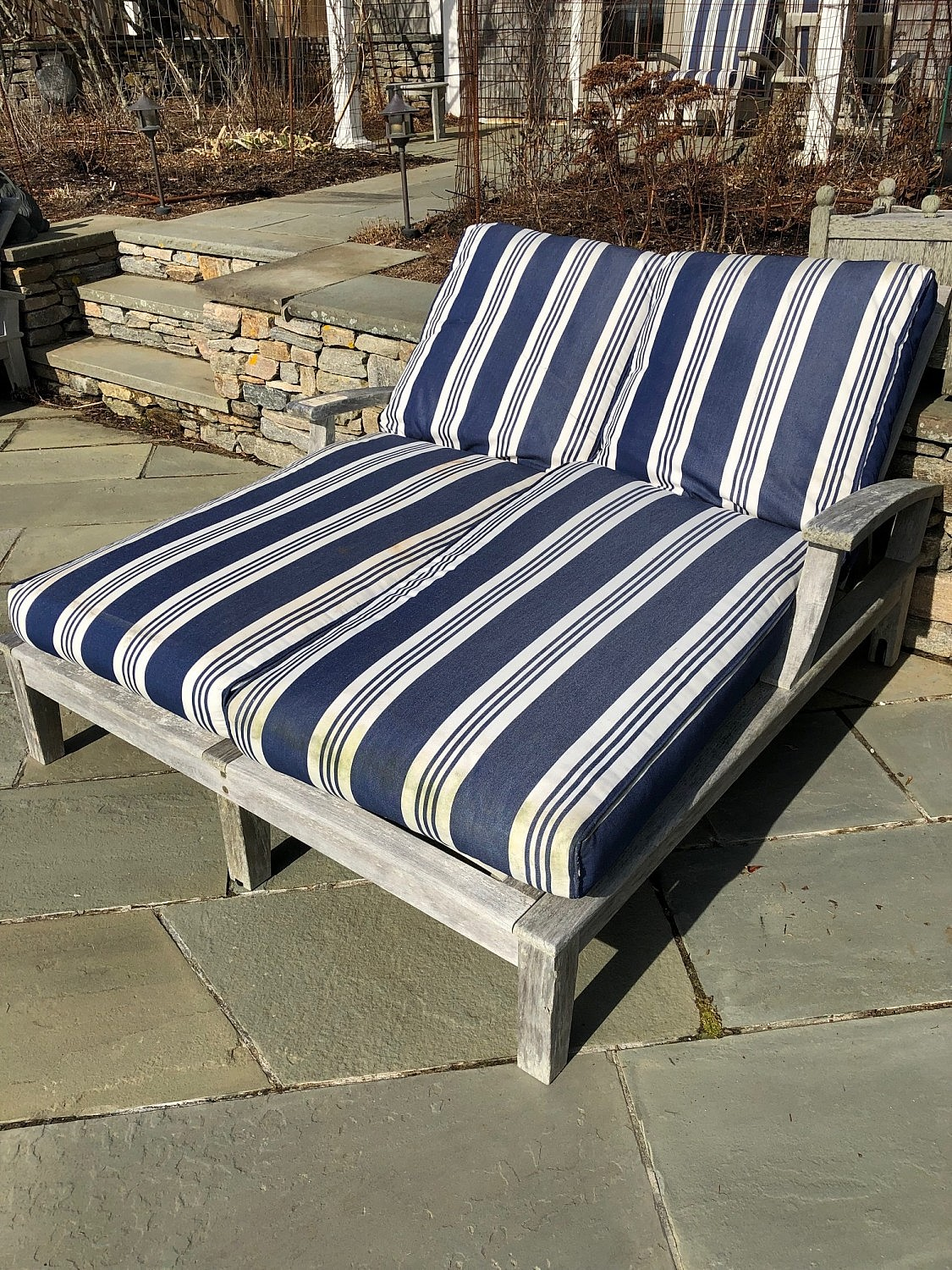Gloster Teak - Two Gloster Teak Double Wide Chaise Lounges ...