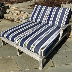 Two Gloster Teak Double Wide Chaise Lounges with Blue and White Striped Cushions