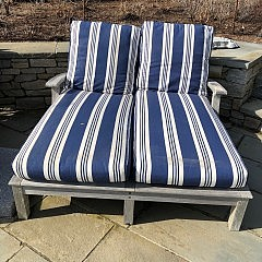 Two Gloster Teak Double Wide Chaise Lounges