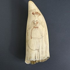 Fine Large Whaleman Scrimshawed and Polychromed Sperm Whale Tooth