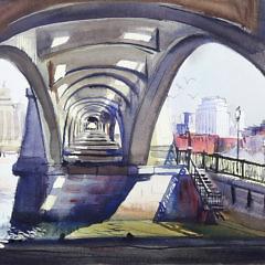 "C. Robert Perrin Watercolor on Paper ""Boston Bridge on the Charles River"""