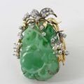 Vintage 18k Yellow And White Gold Diamond Accented Jadeite Brooch Attributed To Paul Flato