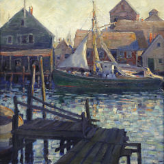 "Anne Ramsdell Congdon Oil on Canvas ""Old North Wharf"""