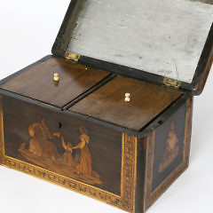 Multi-Wood Inlaid Double Compartment Tea Caddy
