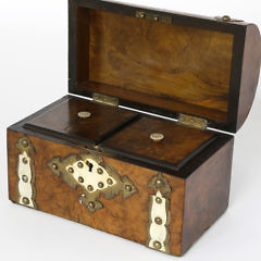 Burlwood Dome Top Double Compartment Tea Caddy