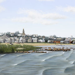 "Julian Yates Oil on Canvas ""View of Washington Street Extension from the Creeks, Monomoy"""