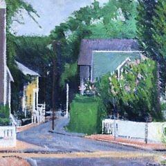 Summer Street Scene Oil on Artist Board
