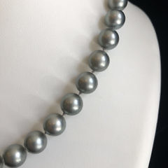 10.2mm – 14mm Tahitian South Sea Gray Pearl Necklace
