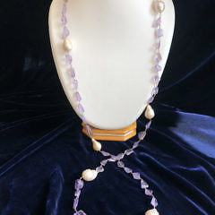 16mm x 22mm Fresh Water Baroque Pearl and Amethyst Nugget Necklace