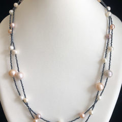40778 Pearl and Spinel Necklace