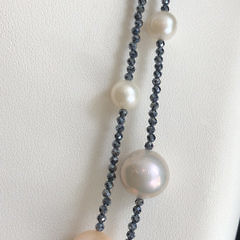 11mm x 7mm Peach and White Cultured Fresh Water Pearl and Spinel Necklace