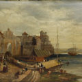 "Oil on Panel ""View of the Port of Mola Italy"", circa 1880"