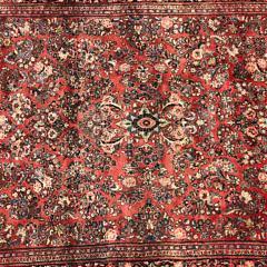 Vintage Persian Lilihan Hand Knotted Wool Carpet, circa 1940s