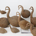 Flock of Nine Folk Art Branch-Work and Twine Geese
